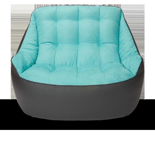 Кресло мешок «Диван Босс», эко-кожа и замша, Графит и голубой